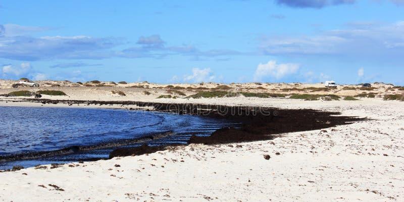 Preto - praia branca da areia em Fuerteventura fotografia de stock