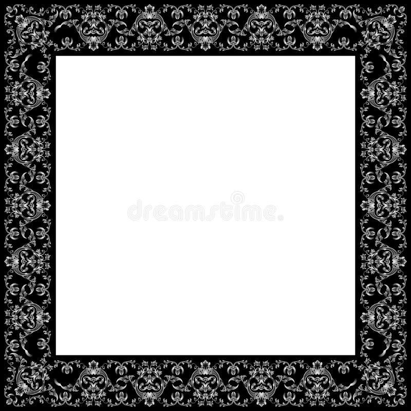 Preto retro real do ornamento do frame do vintage do vetor ilustração stock