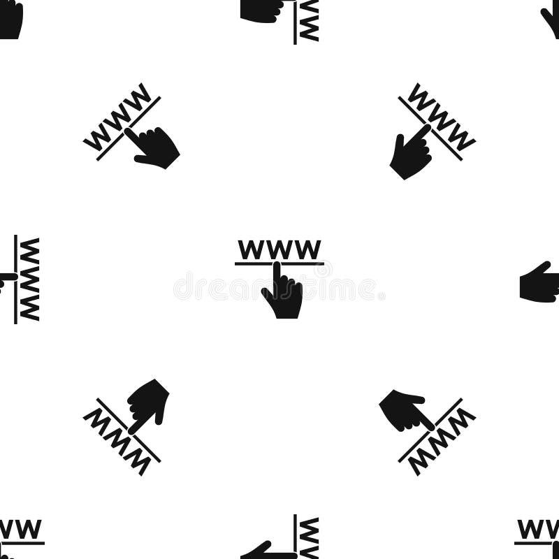 Preto sem emenda do teste padrão do cursor e do Web site da mão ilustração do vetor