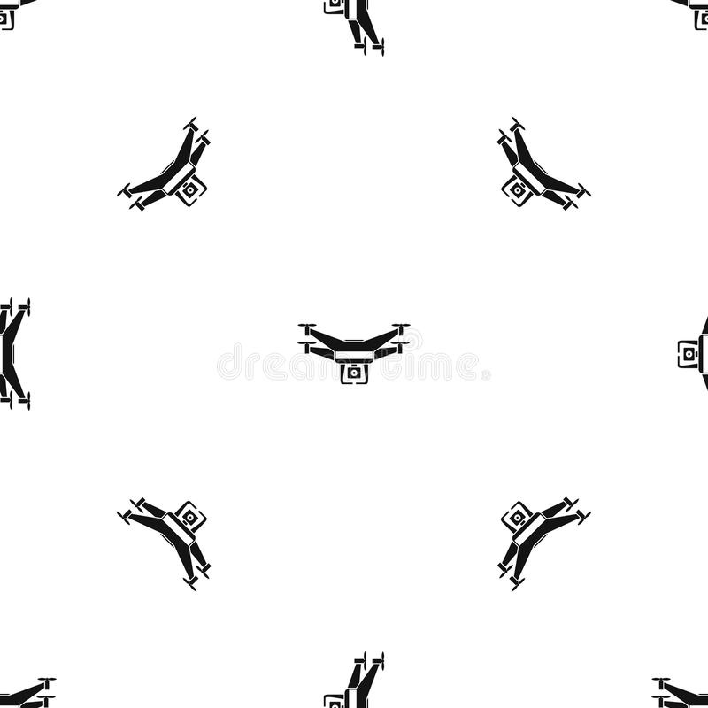 Preto sem emenda do teste padrão da câmara de vídeo do zangão ilustração royalty free