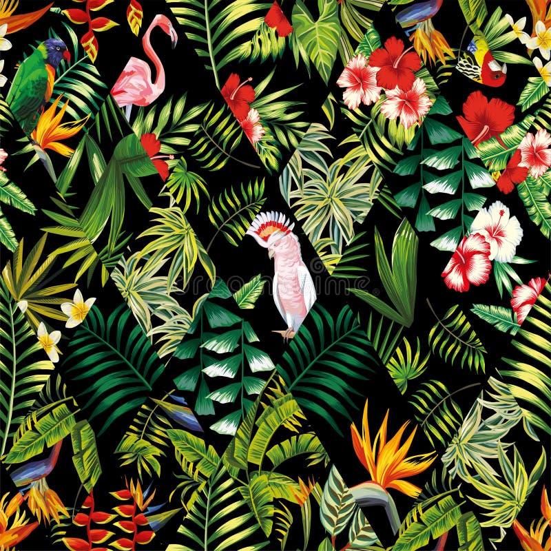 Preto sem emenda do teste padrão dos retalhos tropicais ilustração royalty free