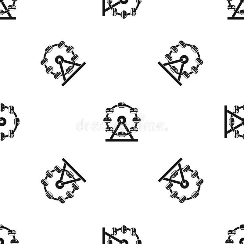 Preto sem emenda do teste padrão gigante da roda de ferris ilustração do vetor