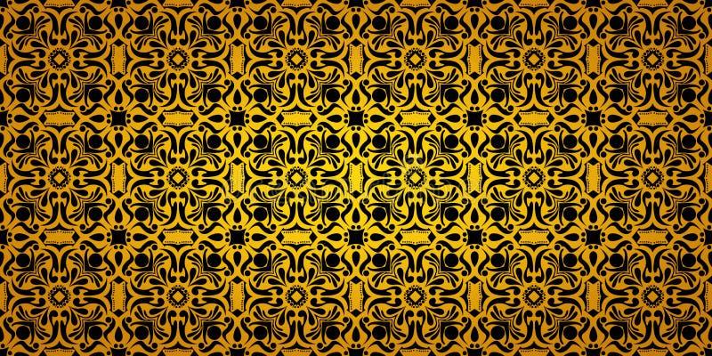 Preto sem emenda do teste padrão do inclinação e vintage largos do ouro floral ilustração do vetor