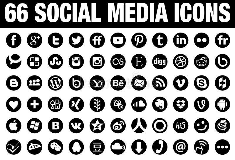 Preto social de 66 ícones dos meios do círculo ilustração royalty free