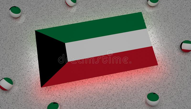 Preto verde branco vermelho da bandeira de Kuwait ilustração royalty free