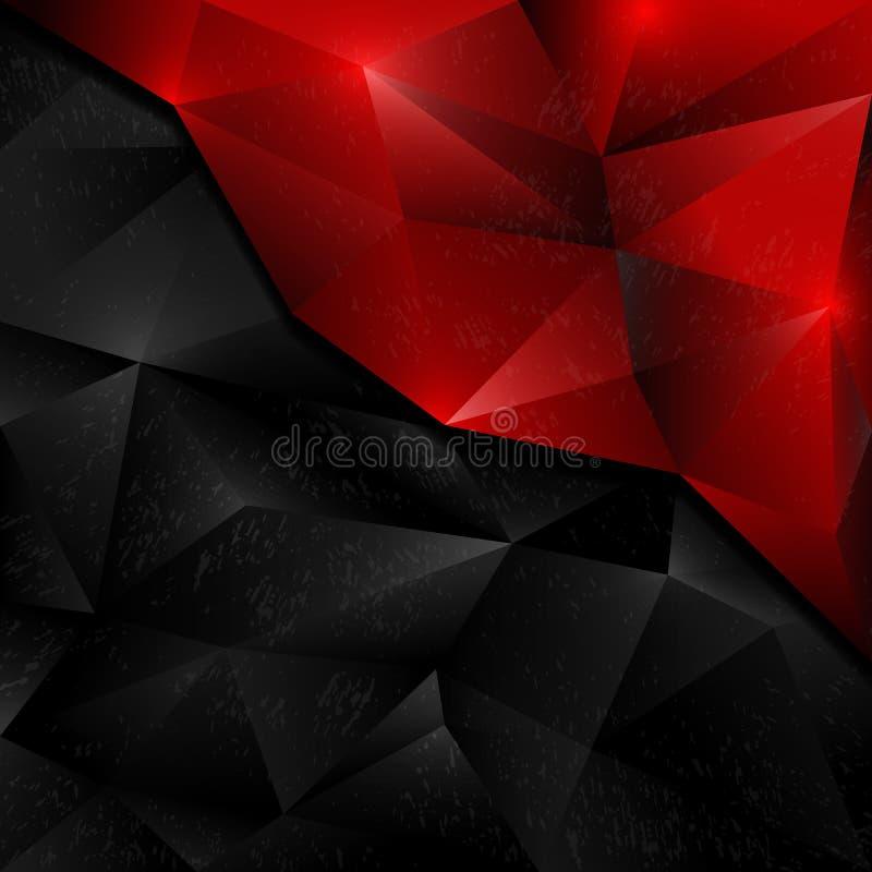 Preto & vermelho do projeto do polígono do sumário do fundo dos vetores ilustração royalty free