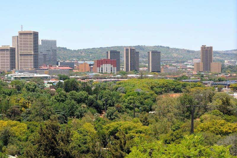 Pretoria central business area. Part of the Pretoria central business area as seen from the zoo royalty free stock photo