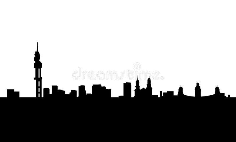Pretoria city skyline vector isolated. Vectored illustration of the urban area of south africa capital of pretoria with most famous landmarks blank background