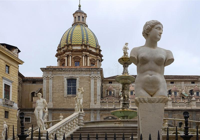 Pretoria fontain, Palermo. royalty free stock images