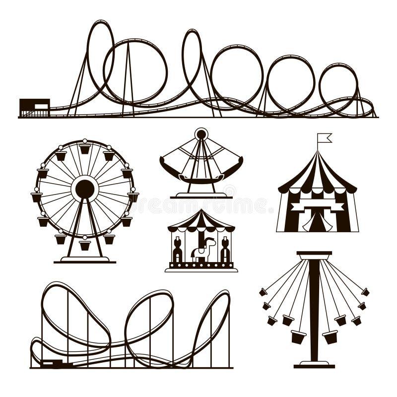 Pretpark, achtbanen en carrousel vectorpictogrammen vector illustratie