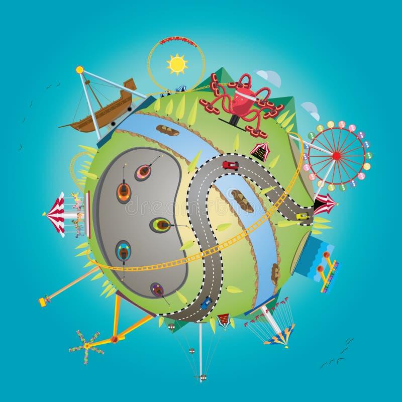 Pretpark met bol royalty-vrije illustratie