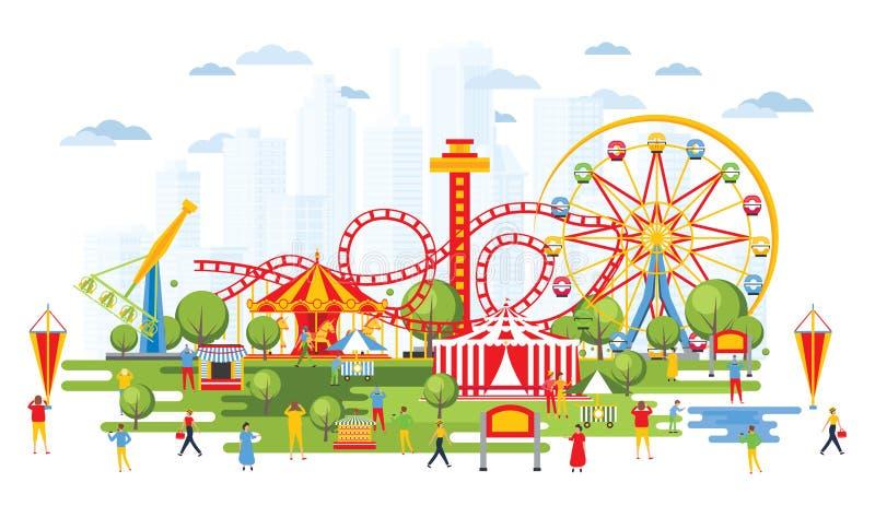 Pretpark met Carrousels in Beeldverhaalstijl Stedelijke Cityscape vector illustratie