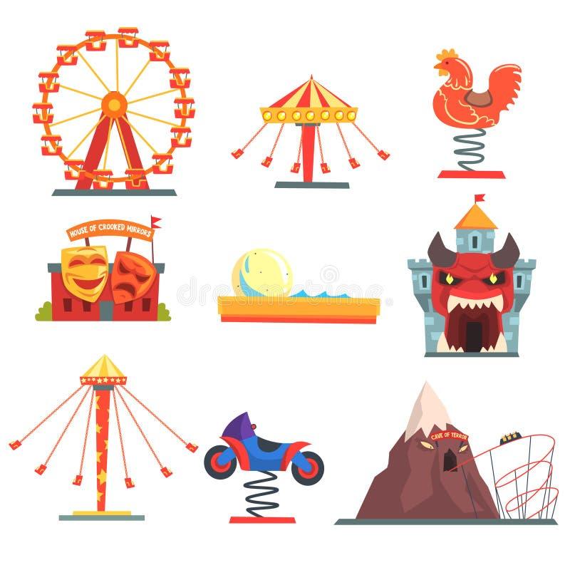 Pretpark met de reeks van familieaantrekkelijkheden kleurrijke beeldverhaal vectorillustraties vector illustratie