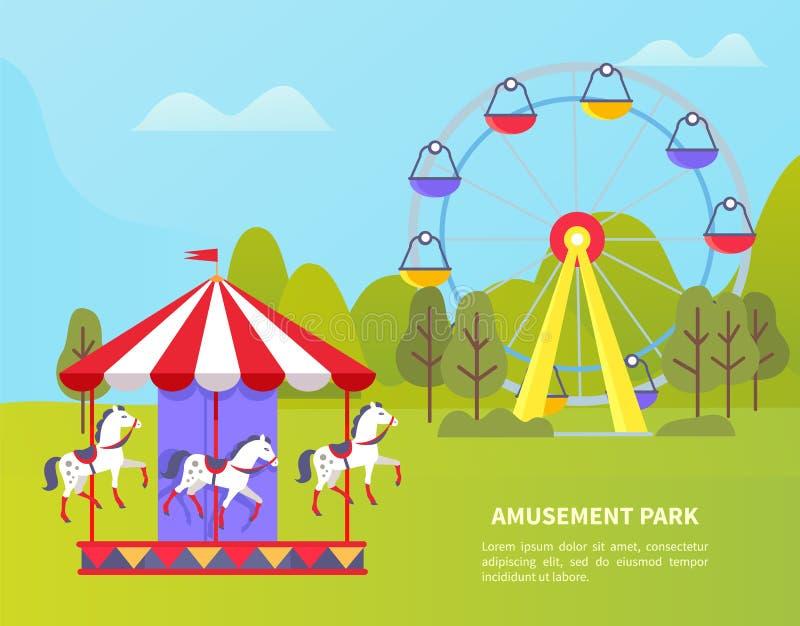 Pretpark met Ferris Wheel en Carrousel royalty-vrije illustratie