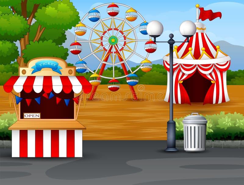 Pretpark met ferriswiel, kaartjescabine en circustent royalty-vrije illustratie