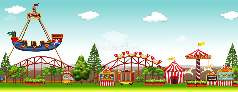Pretpark met vele ritten stock illustratie