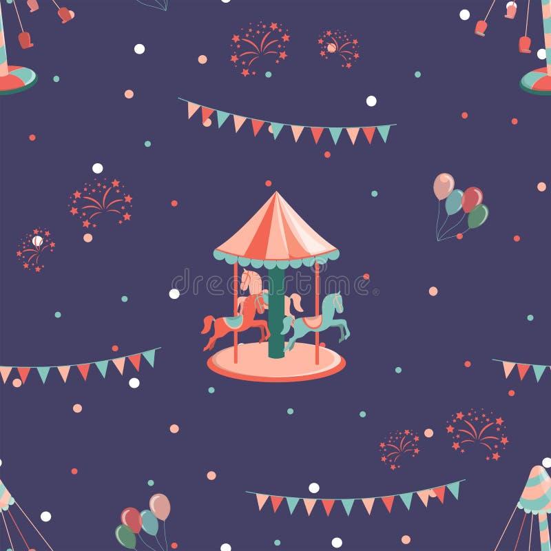 Pretpark naadloos patroon met carrousel met hourses en carrousel stock illustratie