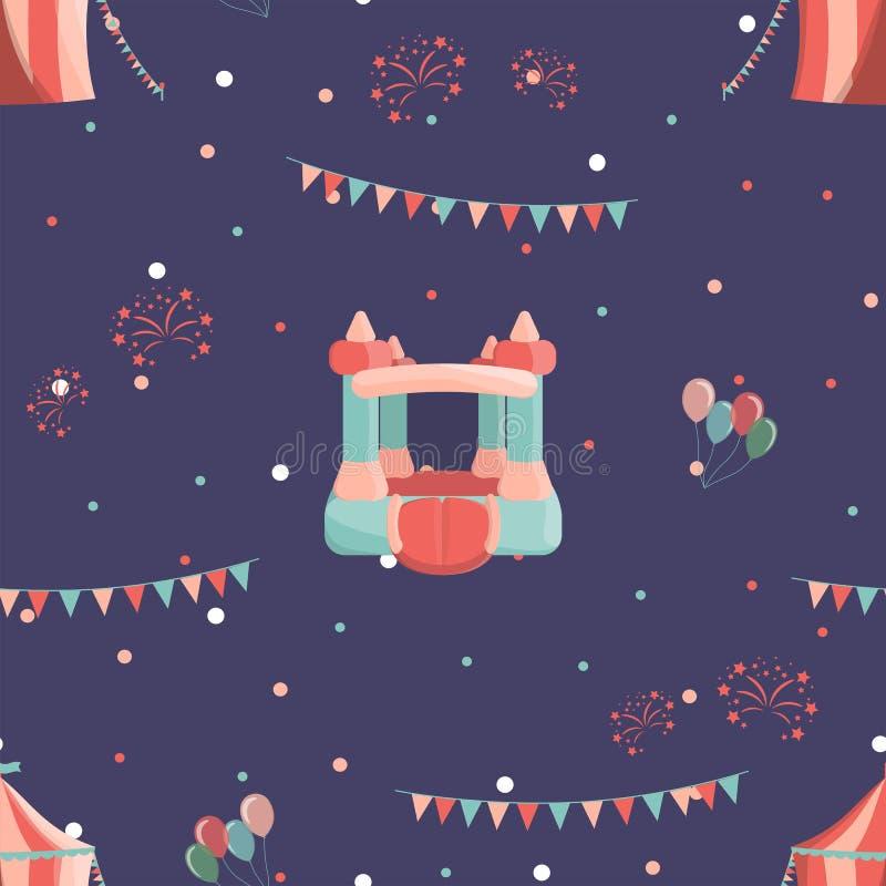 Pretpark naadloos patroon met opblaasbaar kasteel en circus royalty-vrije illustratie