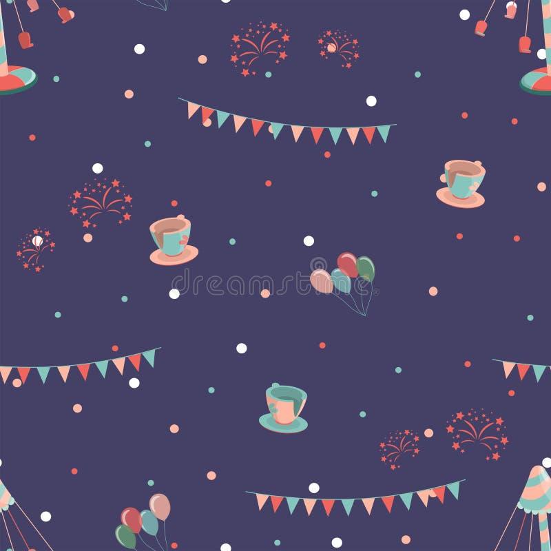 Pretpark naadloos patroon met schommelingskoppen en carrousel royalty-vrije illustratie