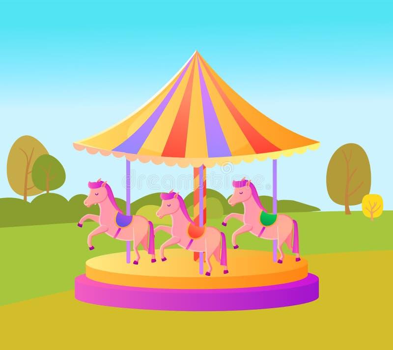 Pretpark voor Jonge geitjesvolwassenen, Carrousel het Spinnen stock illustratie