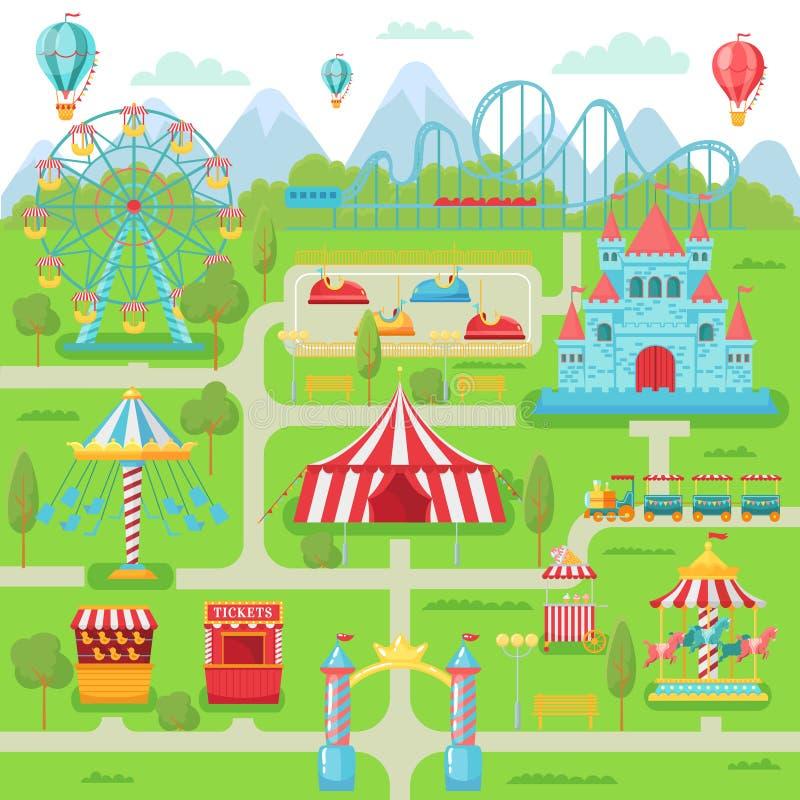 Pretparkkaart Van het festivalaantrekkelijkheden van het familievermaak de carrousel, de achtbaan en ferris het wielvector royalty-vrije illustratie
