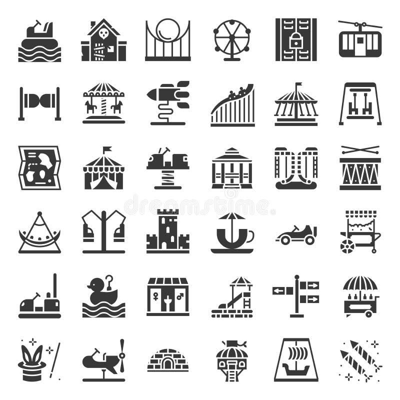Pretparkpictogram en muntstuk in werking gestelde rit, stevig pictogram royalty-vrije illustratie