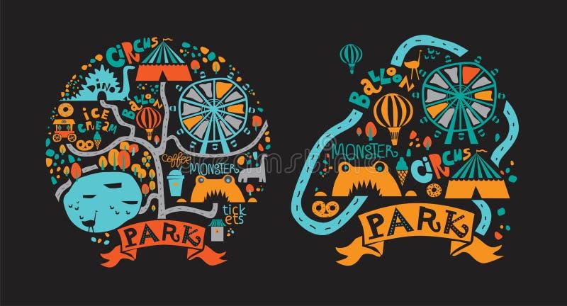 Pretparkpictogrammen in beeldverhaalstijl worden geplaatst met aantrekkelijkheden en het lopen wegen, vijver, roomijs, koffie die royalty-vrije illustratie