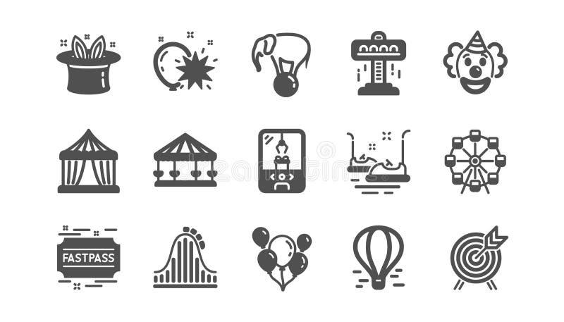 Pretparkpictogrammen Carrousel, Achtbaan en Circus Klassieke pictogramreeks Vector vector illustratie