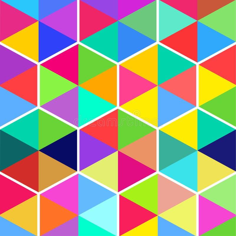 Pretpatroon van zeshoeken van kleurendriehoeken royalty-vrije illustratie