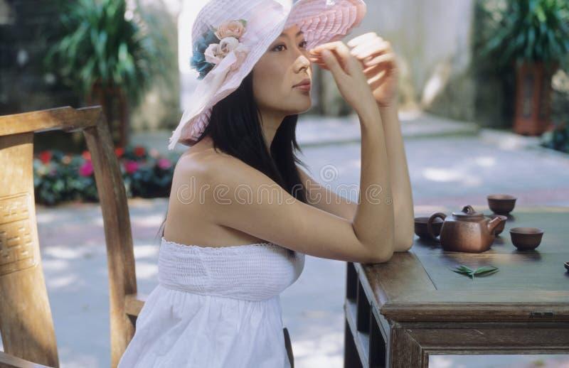 Prettey woman & tea stock photo