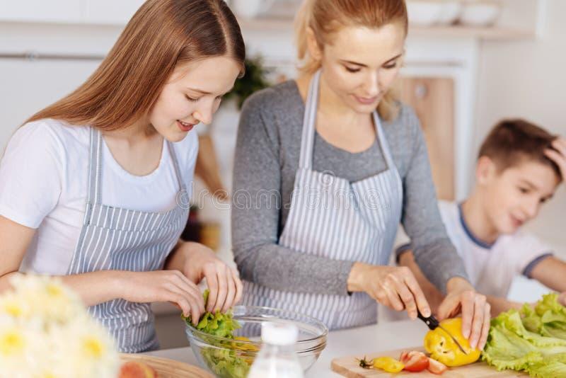 Prettige het houden van moeder kokende salade met haar kinderen stock foto