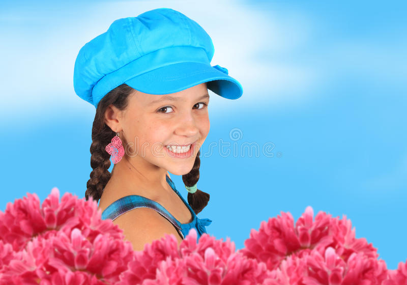 Pretty 10 year old spring girl stock image