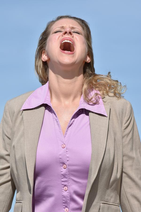 Angry Adult Blonde Business Woman royalty free stock photos