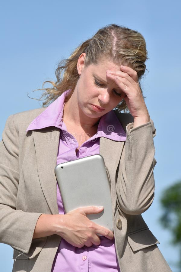 Anxious Adult Blonde Business Woman Wearing Suit royalty free stock photo
