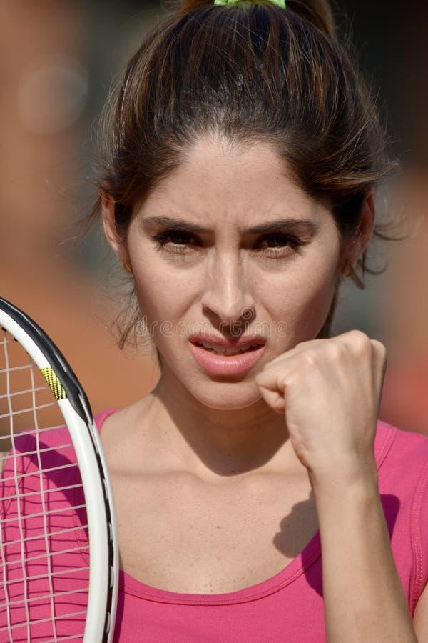 Upset Athlete Female Adult With Tennis Racket royalty free stock photos