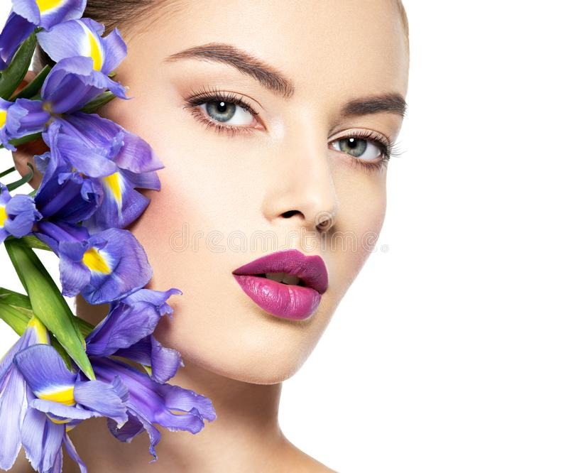 Woman with a healthy clean skin of the face. Makeup stock photos