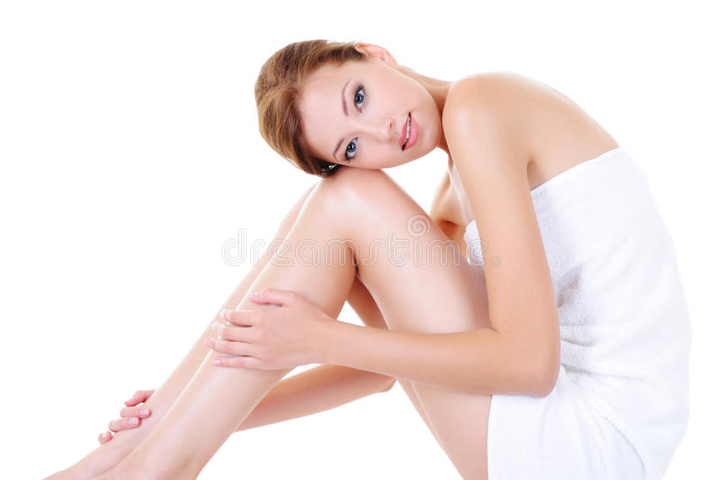 Pretty adult girl with perfect legs royalty free stock photos