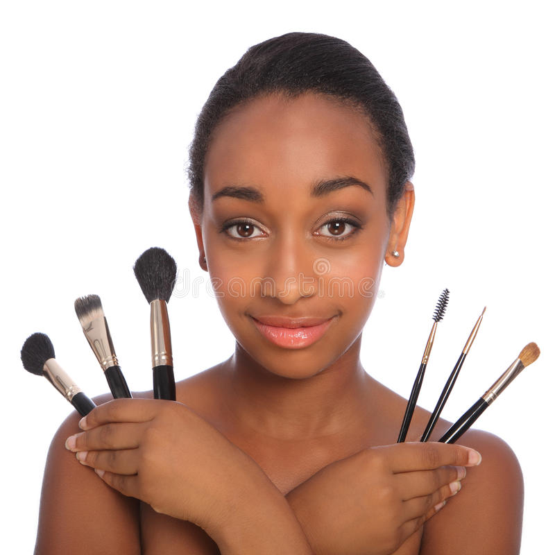Pretty african american make up artist woman stock image