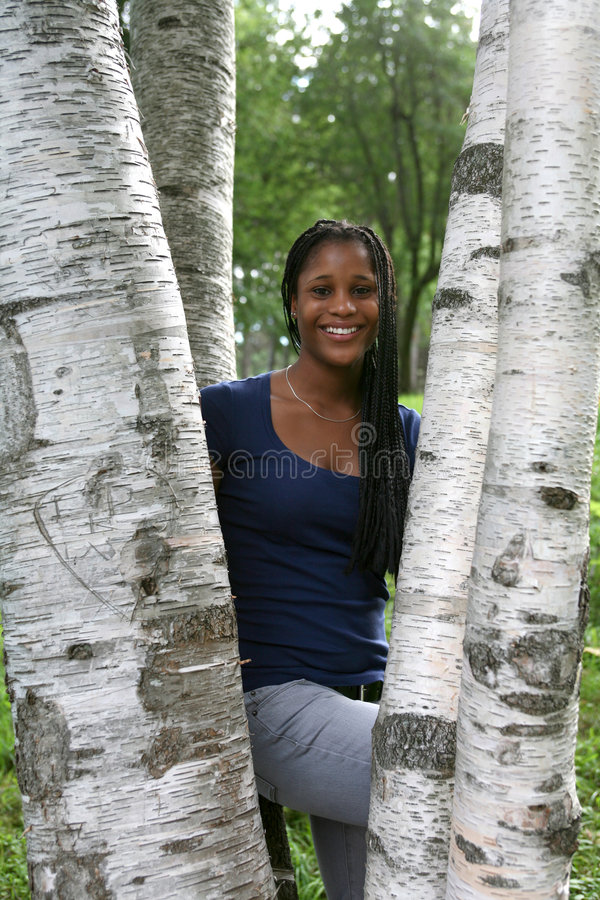 Free Pretty African American Teen Among Birch Trees Royalty Free Stock Photo - 6526755