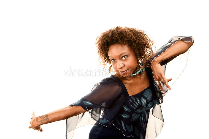 Pretty African-American Woman In Disco Dress stock image