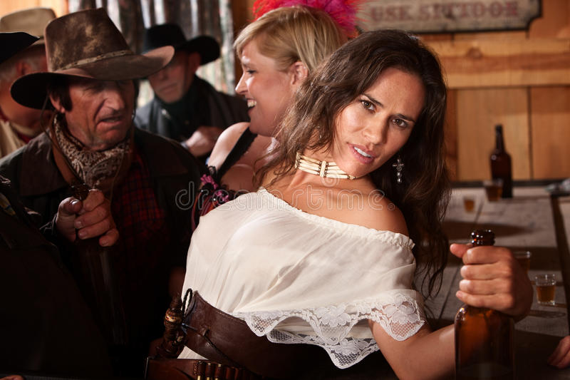 Pretty American Indian Woman In Bar Stock Image