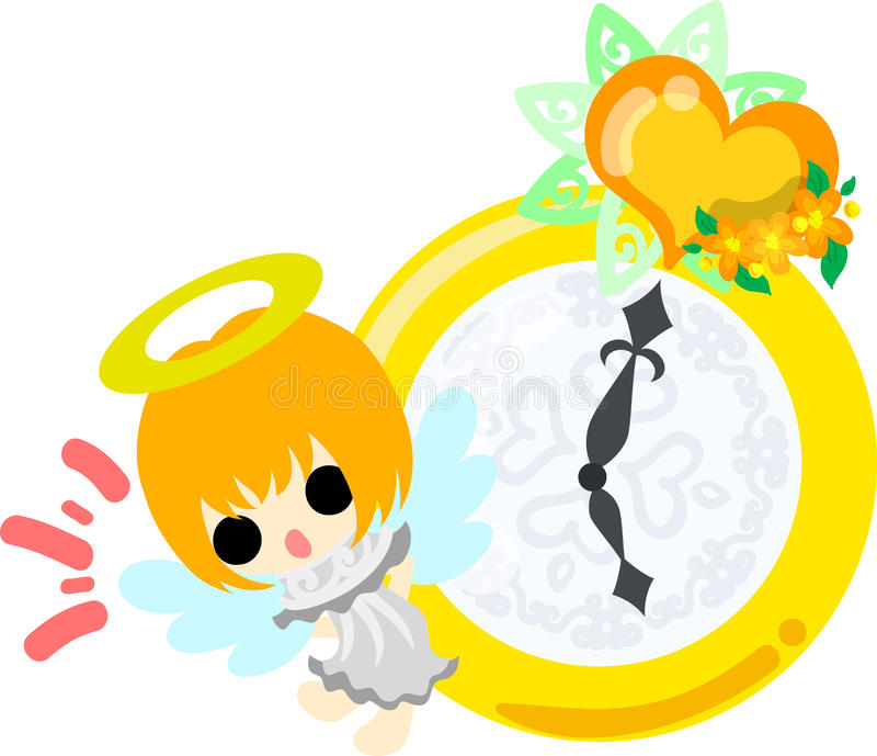 The pretty angels. A pretty angel and clock stock illustration