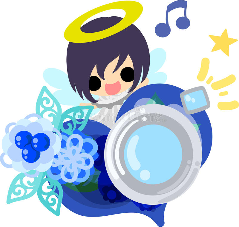 The pretty angels. A pretty angel and heart shaped camera vector illustration