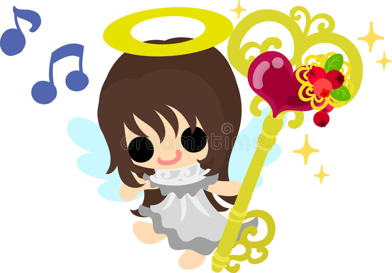 The pretty angels. A pretty angel and the key of magic stock illustration