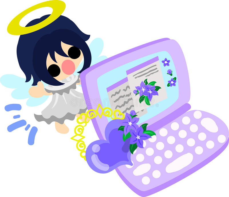 The pretty angels. A pretty angel and stylish PC stock illustration