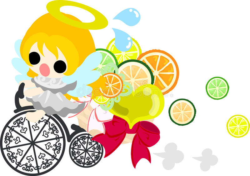 The pretty angels. The pretty angel who rides a bicycle stock illustration