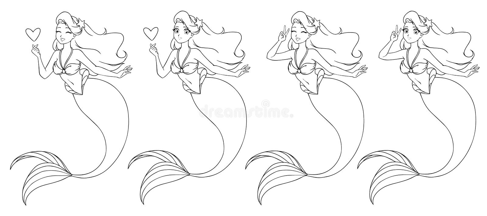 Pretty anime mermaid holding a heart and using V sign. Open and closed eyes versions. vector illustration
