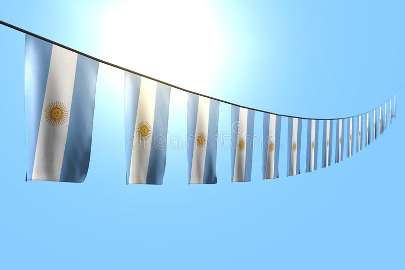 Pretty any celebration flag 3d illustration - many Argentina flags or banners hanging diagonal on string on blue sky background. Beautiful many Argentina flags vector illustration