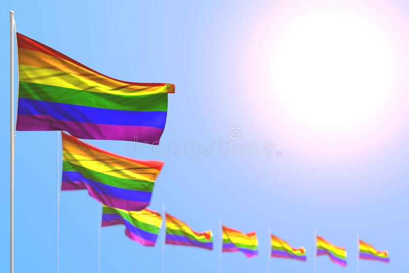 Nice many Gay Pride flags placed diagonal with selective focus and empty place for text - any celebration flag 3d illustration. Pretty any celebration flag 3d vector illustration