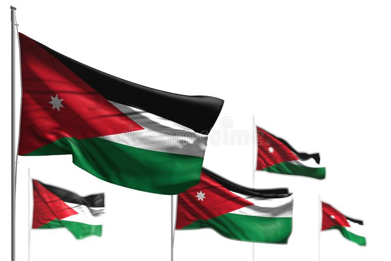 Pretty any holiday flag 3d illustration - five flags of Jordan are waving isolated on white - photo with selective focus. Cute five flags of Jordan are wave royalty free illustration